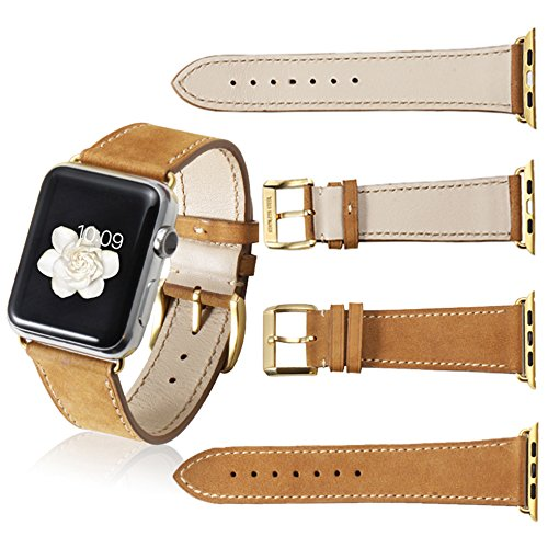 (CHIMAERA Compatible for Apple Watch Band 44mm 42mm 40mm 38mm Leather Strap for iWatch Series 4/3/2/1 Sport Edition Rose Gold)