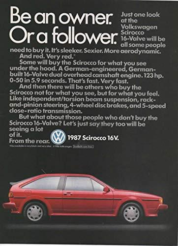 Magazine Print Ad: 1987 Volkwagen VW Scirocco 16V,