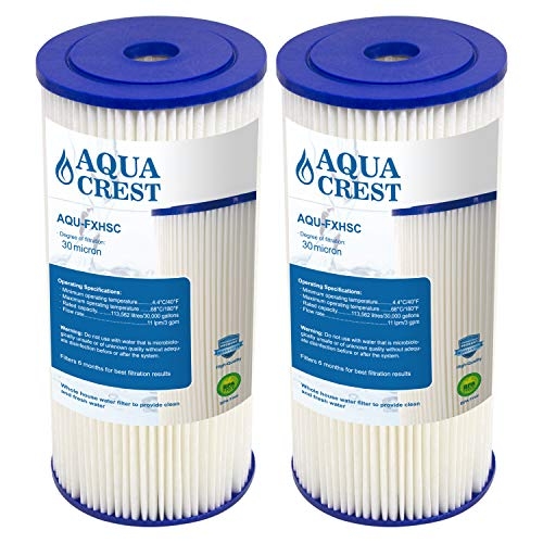 AQUACREST FXHSC Water Filter, Compatible with GE FXHSC, Culligan R50-BBSA, Pentek R50-BB and DuPont WFHDC3001, American Plumber W50PEHD, GXWH40L, GXWH35F Whole House Filter (Pack of 2) ()