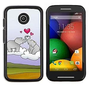 For Motorola Moto E Case , Elefante y el corazón- Diseño Patrón Teléfono Caso Cubierta Case Bumper Duro Protección Case Cover Funda