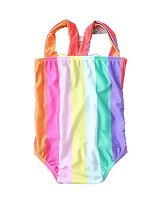 f9293fa1f34 Amazon.com: Baby/Toddler Girls One Piece Swimsuit Rainbow Printed Halter  Cut Out Monokini for Beach: Clothing