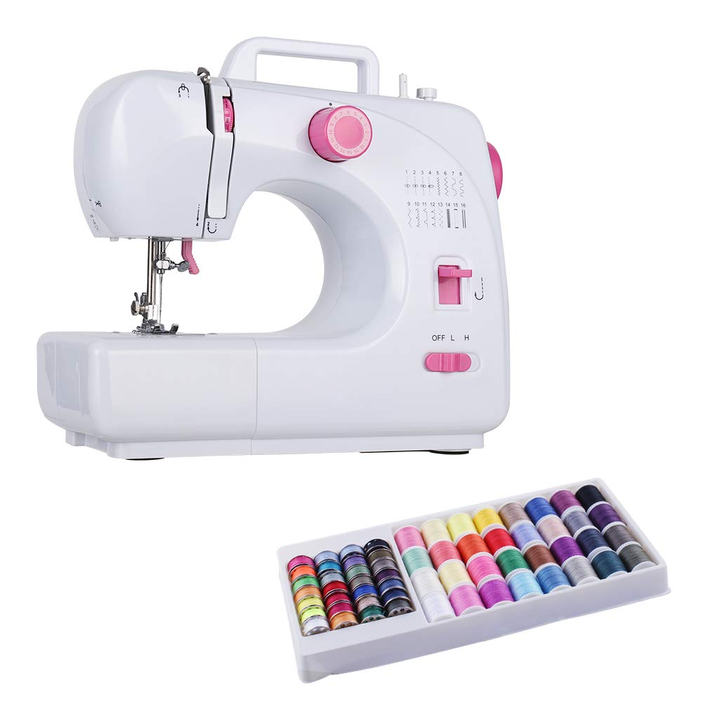 Sewing Machine Portable Electric Household Mini Multifunction Handheld 16 Built-in Double Thread with 60 Sewing Thread Coils Crafting Mending Machine for Beginners by Neala