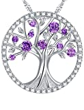 "Gift for Her ""The Tree of Life"" Created Amethyst Birthstone Necklace Sterling Silver Jewelry"