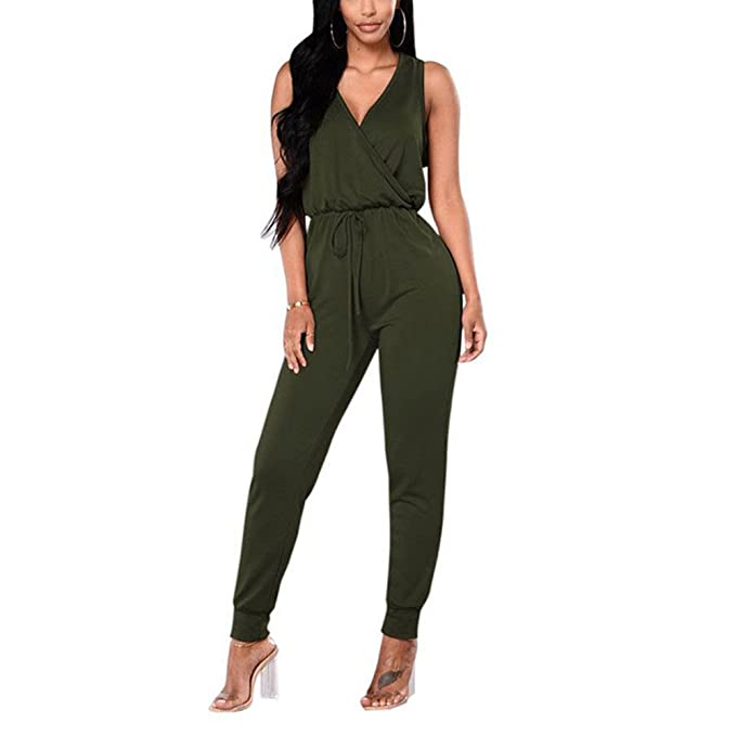 37eb6e3ec TYFeng Women's Sleeveless Romper V Neck Long Casual Jumpsuits Playsuits  Outfits with Belt (Army Green