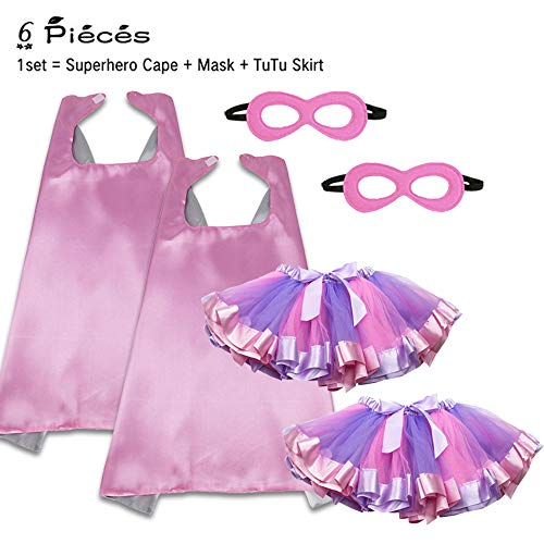 Pink Superhero Capes Masks and Tutu Skirts for Toddler Girls Princess Dress Up Birthday Party Costume Set, 6 -