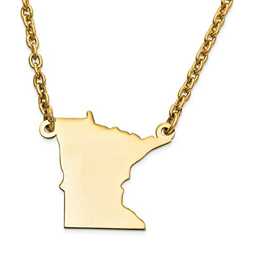 Jewels Obsession Minnesota Necklace Rhodium-plated 925 Silver Minnesota Pendant with 24 Necklace