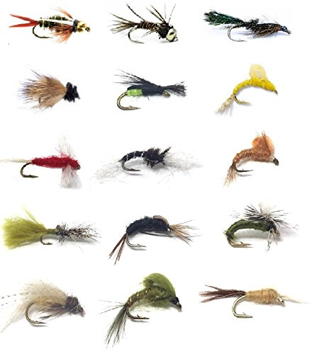 Fly Fishing Flies Assortment - Popular for Trout Fishing and Other Freshwater Fish - 30 Wet Flies - 15 Patterns Nymphs, Emergers, Bead Head Prince, Pheasant Tail, Mayflies, Pupa, and More Mayfly Nymphs