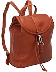 Piel Leather Medium Drawstring Backpack, Saddle, One Size