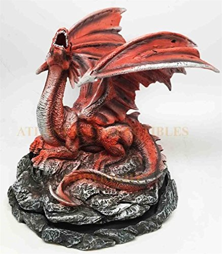 - Ky & Co YesKela Red Fiery Volcano Dragon Back Cone Incense Burner Collectible Figurine Fantasy