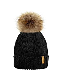 MIOIM Child Baby Hat Knitted Beanies Faux Fur Pompom Hat Bobble Ski Cap