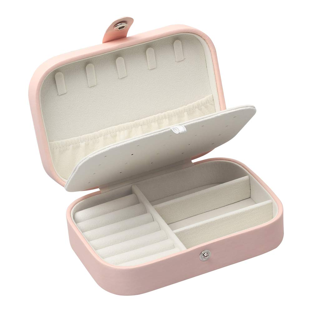 STURME Jewellery Box for Girls Women PU Leather Jewellery Storage Box for Rings Earrings Necklace Bracelets (Pink)
