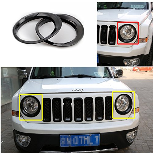 Bestong 2Pcs ABS Headlight Front Light Lamp Cover Trim For Jeep Patriot 2011-2016 (Black)