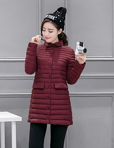 Padded Polypropylene Long Casual Daily Regular ZHUDJ Solid Women'S Wine XL Simple Polyester Coat Sleeves vwAqEqz