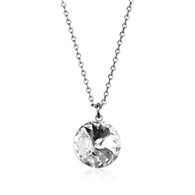 7655c7c1a514 The Outlet London Swarovski Crystal Bella Rhodium-Plated Silver Necklace  RRP £69  Amazon.co.uk  Jewellery