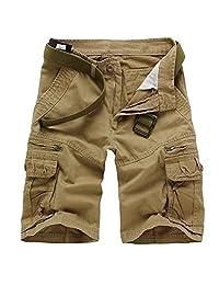WSLCN Men's Cargo Shorts Camo Relaxed Casual 100% Cotton Bermudas Straight No Belt