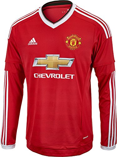 adidas Manchester United FC Home Long Sleeve Jersey-REARED (XL)