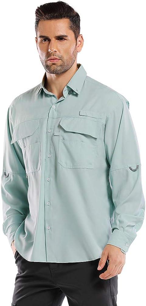 Mens Long Sleeve Fishing Shirts,Uv Sun Protection Quick-Dry Cooling Hiking Shirt