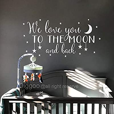 Nursery Wall Decal We Love You to The Moon and Back Wall Decal Children's Room Decor Moon and Stars Wall Sticker (White,25