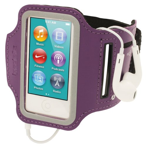 (iGadgitz Purple Reflective Anti-Slip Neoprene Sports Gym Jogging Armband for Apple iPod Nano 7th Generation 16GB)