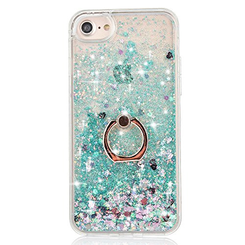 iPhone 7 Case Crystal Clear Quicksand Liquid - JAZ Finger Ring Stand Ultra Thin Soft Transparent Plastic Floating Luxury Bling Glitter Sparkle Diamond Case for iPhone 7 /iphone 8 (Heart Green)