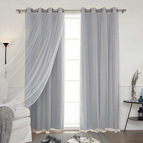 Best Home Fashion Mix & Match Tulle Sheer Lace & Blackout 4Piece Curtain Set – Antique Bronze Grommet Top – Grey – 52″W X 84″L – (Set of 4 Panels)