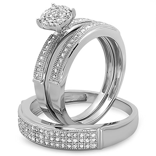 Dazzlingrock Collection 0.50 Carat (ctw) Round Diamond Men & Women