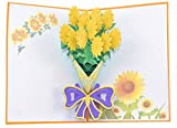Medigy 3D Pop Up Congratulations Greeting Card A Bouquet of Golden Sunflowers