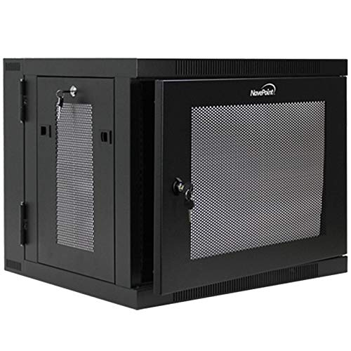 NavePoint 9U Wall Mount Hinged Swing Out Perforated IT Server Network Rack Cabinet Lock ()