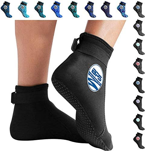 BPS Smart Sock Water Fin Sock Tide-Pooling and All Water and Sand Activities Low Cut 3mm Neoprene Glued and Blind Stitched w//Fit Adjustment Straps for Snorkeling