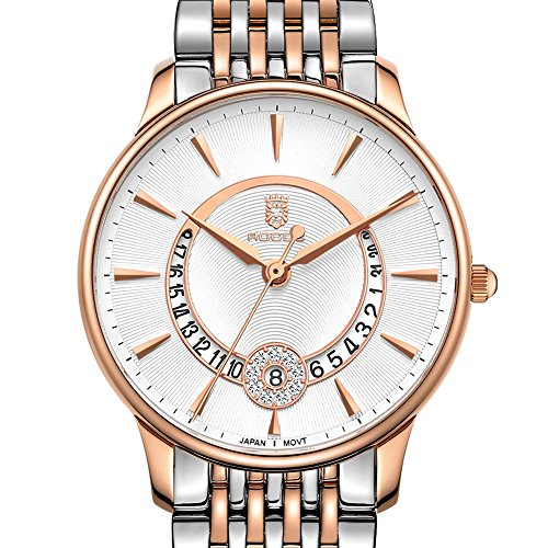 - Women's Wrist Watch ROCOS Japanese Quartz Rose Gold Dress Watch with White Dial Ladies Crystal Analog Watches Luxury Classic Elegant Gift #R0120 (Silver)