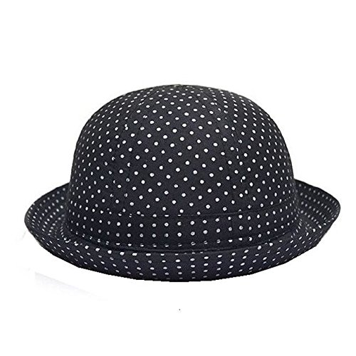 Rejected all traditions Black Unisex Kids Polka Dots Pattern Roll Brim Fedora Trilby Derby Cotton Hat