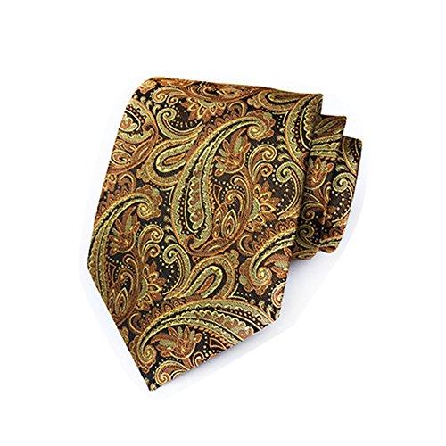 Men's Necktie Woven Silk business Wedding Classic Tie t-40-01 (Long Paisley Gold Tie Extra)