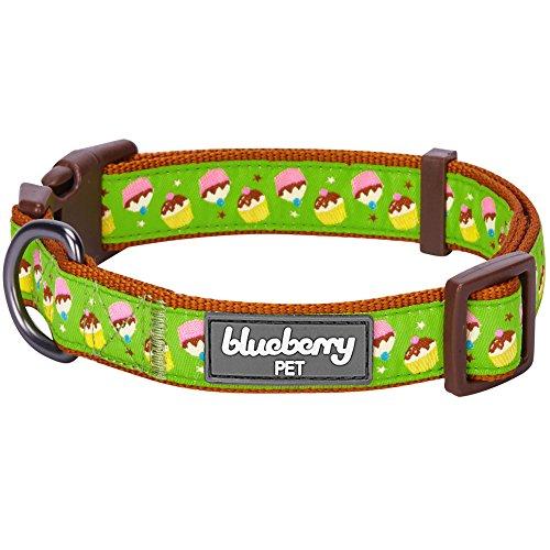 Blueberry Pet 8 Patterns Summer Party Ideas Cupcake Fantasy Weekend Spree Designer Dog Collar, Small, Neck 12