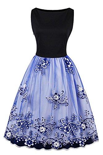 Axoe Damen Elegante 50er Jahre Kleider mit Blumenstickerei Tüll ...