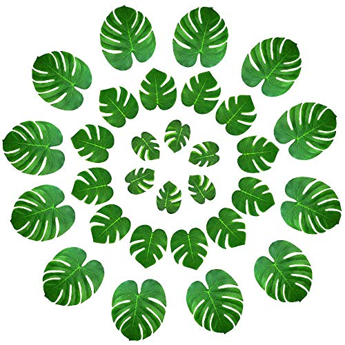36pcs Tropical Leaves Palm Decorations Artificial, Elite Choices 3 Sizes Real Looking Imitation Green Plant Leaf,Hawaiian Jungle Beach Theme Decorations for Birthdays, Arts & Crafts, Weddings