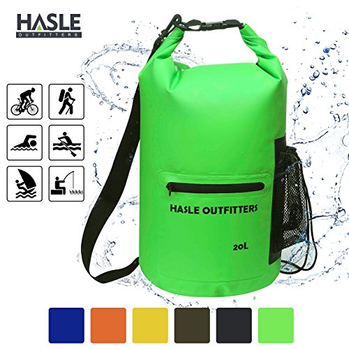 Waterproof Dry Bag-10L/20L Roll Top Compression Sack with shoulder straps and Front Zippered Pocket Keeps Gear Dry for Boating, Camping, Kayaking, Fishing,Swimming and Hiking Green/20L (Compression Dry Bag)