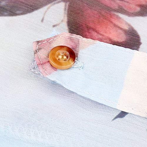 Chemise V Bleu Longues Blouse Femme Floral Mousseline Manches Imprime AIMEE7 Chemisier Col S1Xzq7S