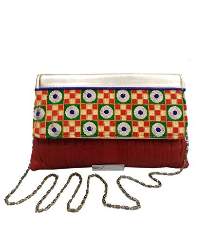 Pleated Silk Clutch (Bhamini Women's Pleated Raw Silk Clutch With Gold Touch Embroidery Maroon)