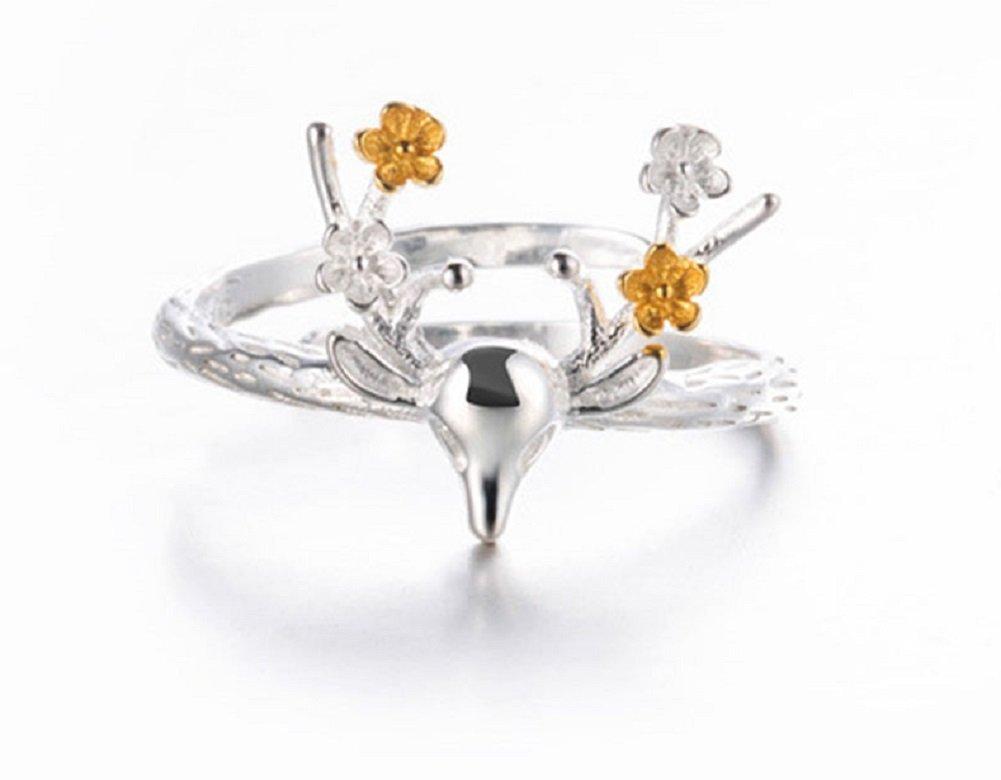 Hosaire Bague Femme romantique cerf et fleur de forme brillant Bague réglable bijoux Cadeau de l'amour
