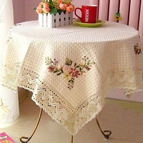 GXX Handmade ribbon embroidery table cloth/ Cotton towel cover/ Round Table linen/ table cloth/covering cloth-A 125x125cm(49x49inch)