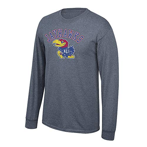 Elite Fan Shop NCAA Men's Kansas Jayhawks Long Sleeve T Shirt Charcoal Vintage Kansas Jayhawks Charcoal X Large (Kansas Jayhawks Apparel)