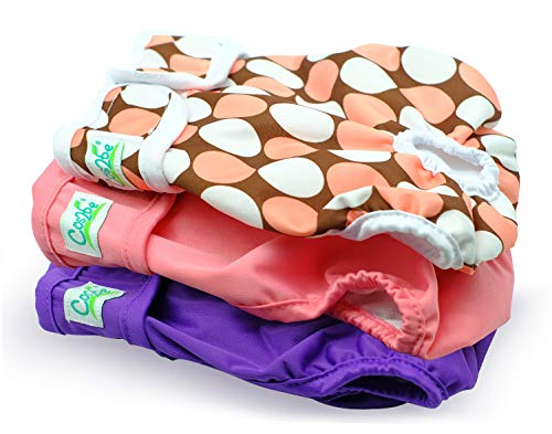 Cos2be Female Dogs Diapers Washable Reusable Wraps,Soft & Comfortable Diapers Small to Middle Dog-Pack of 3(S)