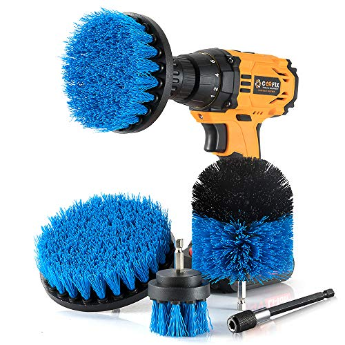 Drill Brush 4 Piece - Power Drill Scrub Brush Attachment With 1 Long Reach Extension For Cleaning Bathroom Kitchen Carpet Toilet Tile Grout Sink Tub