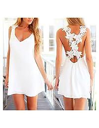 Women Sexy Backless Beach Dress White Lace Floral Mini Dress