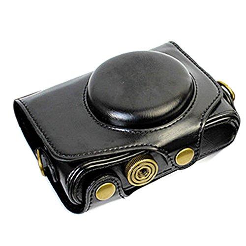 Powershot Leather - CEARI Leather DSLR Camera Case Bag with Neck Strap for Canon Powershot SX720 HS Digital SLR Camera - Black
