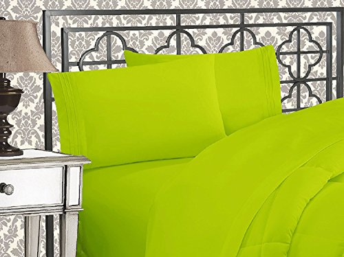 Elegant Comfort 4 Piece 1500 Thread Count Luxurious Ultra Soft Egyptian Quality Coziest Sheet Set, King, Neon/Green Lime Lime Green Sheet Set