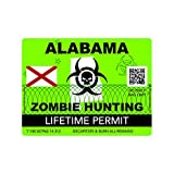 fagraphix Zombie Alabama State Hunting Permit Sticker Self Adhesive Vinyl Decal AL - 4.00 Wide