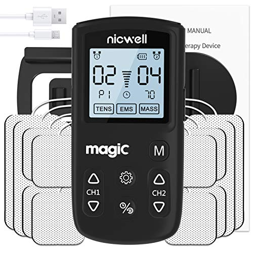 TENS Unit Muscle Stimulator - Nicwell TENS+EMS+Massage Muscle Stimulator Machine with Dual Channel and 12 Pads & 22 Modes Muscle Stimulator for Pain Relief & Muscle Strength