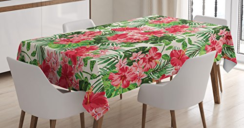 Floral Tablecloth by Ambesonne, Tropical Botanic Flowers Leaves Ivy Island Hawaiian Image, Dining Room Kitchen Rectangular Table Cover, 52W X 70L Inches, Dark Coral Hunter Green Jade Green (Table Coral Cafe)