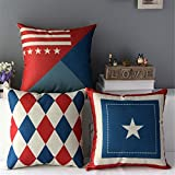 Geometric Stripe Star Flag Cotten Linen Throw Pillow Case Home Sofa Car Cushion Cover